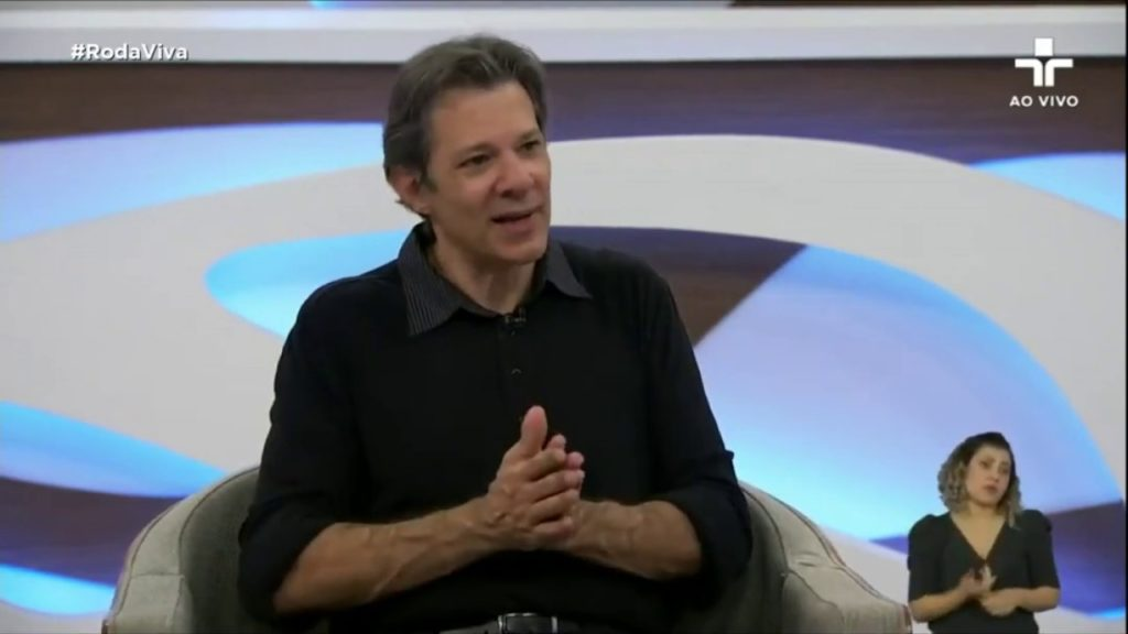 Fernando Haddad em entrevista ao programa Roda Viva