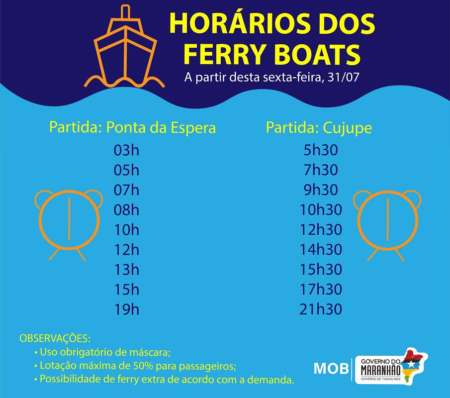 Novos horários do ferry boat