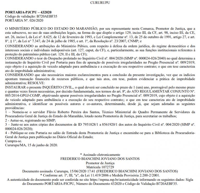 Portaria n° 026/2020 publicada no Diário Eletrônico do MPMA