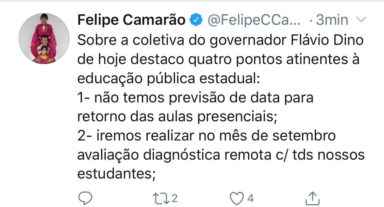 Declaração do Secretário Felipe Camarão